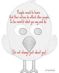 People Need To Learn.... (sirwiseowl) Tags: blue white cute bird animal illustration logo words wings sad background cartoon flight wisdom learn actions cutebird twitter