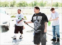 Carwash Fundraiser. Donations for Funeral Expenses. (newmexico51) Tags: newmexico southwest men cars goatee tshirt hose carwash jeans porsche shorts homem washing hombre homme roswellnm gregorypeterson