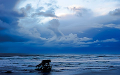 ShipwreckHDR3, Wreck of the Peter Iredale, Ft. Stevens, Oregon (gks18) Tags: ocean blue seascape beach nature water clouds oregon canon outdoors coast outdoor shipwreck