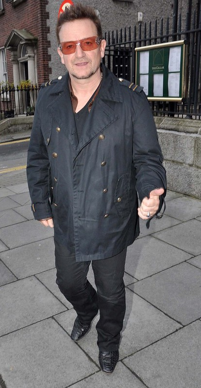 Bono leaves The Cellar Bar at The Merrion Hotel after having a meeting with Irish Economist David McWilliams Dublin, Ireland - WENN.com
