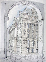 Surrogate Court Building (James Anzalone) Tags: park street nyc newyorkcity autumn shadow urban sculpture detail reflection building skyline architecture illustration pen ink court watercolor james sketch october arch view drawing manhattan niche centre capital perspective landmark historic line ornament classical gothamist chambers pediment rendering surrogate pleinair anzalone urbansketchers