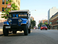 CJ-6 (Flint Foto Factory) Tags: street city blue summer urban chicago classic home sport vintage illinois model long afternoon traffic angle jeep military low year north july saturday utility ambulance american cj 1975 vehicle parked 1956 amc emergency argyle suv kerb curb edgewater rugged willys 2010 response fordfocus sportutility cj6 somersetplace wheelbase americanmotors worldcars civilianjeep nsheridan
