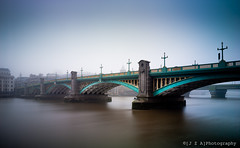 High Tide at Southwark Bridge ([J Z A] Photography) Tags: uk london fog thames mediumformat hasselblad southwarkbridge arcbody phaseonep25 ernestgeorge basilmott apograndagon35mm