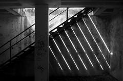 (Hunter McGinnis) Tags: light urban blackandwhite lines stairs composition graffiti decay streetphotography darkdays