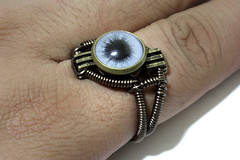 Steampunk Jewelry - RING - Blue taxidermy glass eye (Catherinette Rings Steampunk) Tags: blue eye art fashion jewelry ring steampunk