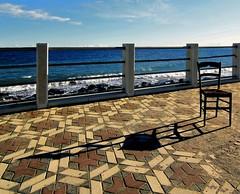L'attesa (meghimeg) Tags: shadow sea sky sun clouds chair nuvole mare ombra cielo sole sedia 2011 albenga