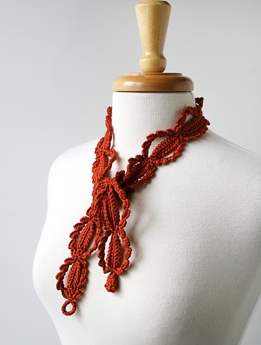 Fiber Art Jewelry - Silk Crochet Necklace