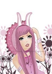 garota (TatianaArts) Tags: garota ilustrao desenho coelhinha