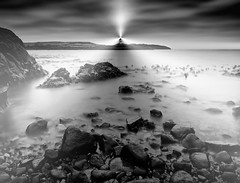 WHITE LIGHT,BLACK ROCKS (kenny barker) Tags: longexposure bw monochrome lumix scotland elie scottishlandscape panasoniclumixgf1 welcomeuk kennybarker