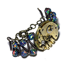 Steampunk Bracelet - Watch Movement - Labradorite (Catherinette Rings Steampunk) Tags: art fashion metal movement wire handmade watch craft jewelry bracelet etsy clockwork brass mechanism artisan steampunk clockpunk
