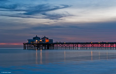 Early evening, Malibu Pier (Photosuze) Tags: ocean california light water landscapes skies piers sunsets malibu pacificocean southerncalifornia coulds rflections blinkagain
