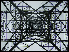 Tower Of Steel (Jon 89) Tags: uk england sky plant tower english public electric metal skyline triangles danger rural walking grey countryside photo vanishingpoint site spring big track day pattern village view britain squares near path walk steel patterns united country great towers under shapes large structures kingdom scene structure pylon trail generator cables wires massive frame gb electricity april british below tall connected underneath shape pylons effect footpath powerstation hertfordshire coils substation towering upwards suppl