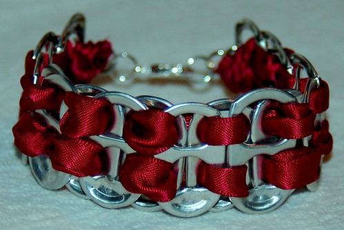 HAND CRAFTED SODA TAB BRACELET W/BURGUNDY RIBBON & SILVER PLATED LOBSTER CLASP