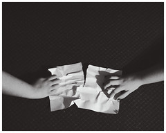 Duality (SophieWiles) Tags: white black paper hands university object rip objects duality tear uneasy indecisiveness sophiewiles