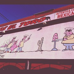 taqueria in north hollywood, laurel canyon blvd (idontkaren) Tags: art sign losangeles tacos cartoon mexicanfood pigs taqueria toro laurelcanyon northhollywood instagram