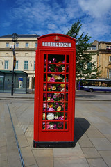 Box of Flowers (Lgh95) Tags: phone box telephone london red bath sky flowers floral southgate shopping centre town flora