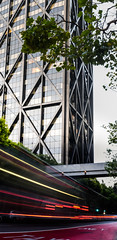 through the red zone (pbo31) Tags: california nikon d810 bayarea color july 2016 summer boury pbo31 sanfrancisco city financialdistrict lightstream motionblur bus urban motion architecture panorama large stitched vertical panoramic brown