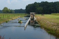 Lock and cascade in Botterbeek near Haaksbergen (joeke pieters) Tags: 1280735 panasonicdmcfz150 haaksbergen twente overijssel nederland netherlands holland botterbeek sluis lock cascade landschap landscape paysage landschaft reflections