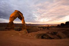 One Ray of Delicate Sunrise (PixStone) Tags: delicate arch national park utah sunrise desert nikon d7100 color sun orange amphitheater usa unusual