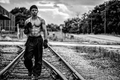 Martel VIII (giladvalkor) Tags: man people guy gritty blackandwhite cap black fitness muscles exercise railroadtracks shirtless abs physique body