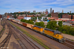 "Westbound Transfer in Kansas City, MO (""Righteous"" Grant G.) Tags: up union pacific railroad railway locomotive train trains west westbound kansas city missouri transfer freight bottoms emd power"