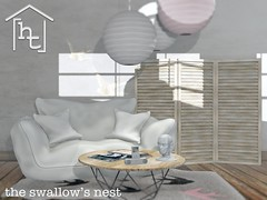 [ht:home] swallow's nest (Corvus Szpiegel) Tags: hate this ht home shiny shabby soft pink original mesh gacha wood natural rustic white cotton charcoal black porcellain head mp3 player coffee table folding screen rice paper lamp light pendant ceiling magazine rug pastel sl second life secondlife