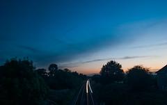 Sunset Crewe (alex thurston) Tags: sunset goldenhour bluehour cornfield tree silhouette flash house railway tracks lightstream bluesky longexposure
