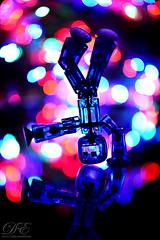 Mirror Disco (debahi) Tags: bokeh macromondays inthemirror bot robot toy stikbots toys blue colors dance dancing funny fun artuculated plastic articul plastique jouet miroir danse bote club arrireplan profondeurdechamp dof strobe strobist
