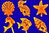 Ornate Portuguese Cocktail Sticks (fstop186) Tags: portuguese ornate cocktail sticks decorative shells seahorse conch clam dolphin fish starfish macro blue sea gold harvest ocean
