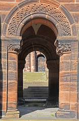 Through the Archways (MWBee) Tags: stgeorges unitedreformchurch thorntonhough sandstone archway door church steps sunshine shadows mwbee nikon d750 wirral cheshire