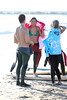Vanessa White, Frankie Sandford and Mollie King of The Saturdays enjoy a surfing lesson on Venice Beach. Los Angeles, California