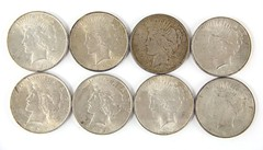 1019. (8) Circulated Peace Silver Dollars