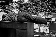 desk job (Rob-Shanghai) Tags: china street sleeping people blackandwhite bw streets canon asia shanghai desk 7d  shanghailanes