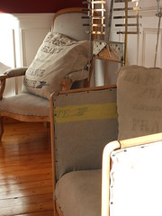 Armchairs renewed with old mailbags (gille monte ruici) Tags: sculpture art industrial artistic assemblage creation foundobjects renovation armchair recycling fauteuil industriel poltrona recyclage mailbag upcycling robotsculpture sacpostal