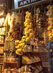 dry goods (knkppr) Tags: food brown yellow fruit turkey beads market sale spice dry istanbul goods garlic sponge dates hang 2012 grandbazaar