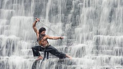 Warrior in the falls (Von Wong) Tags: blue art li michael waterfall fighter jet surreal falls fantasy sword warrior kung fu wushu liquid epic shaolin demski
