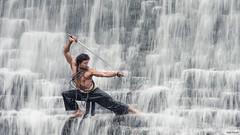 Warrior in the falls (Von Wong) Tags: blue art li michael waterfall fighter jet surreal falls fantasy sword warrior kung fu wushu liquid epic shaolin demski