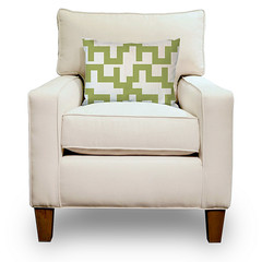 31 Wide Chair in Natural Organic Cotton with a Maze Pillow in Lime and Natural (PURE Inspired Design) Tags: customfurniture organicfabric ecofriendlyfurniture woolrugs