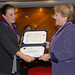 UN Women Executive Director Michelle Bachelet receives an honorary doctorate from Universidad Peruana Cayetano Heredia during her visit to Lima, Peru in October 2012