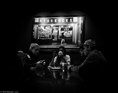 Coffee In The Shadows (Neil. Moralee) Tags: girls bw white black boys coffee monochrome mobile dark shadows phone drink ground starbucks strong late brew americano esspresso espreso capochino d7000 neilmoraleenikon
