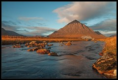 River Etive - Stob Dearg (Visible Landscape) Tags: uk motion mountains colour water sunrise river landscape photography golden scotland highlands exposure colours calm glen visible moor etive colourfull buachailleetivemor kingshousehotel stobdearg a82 visiblelandscape