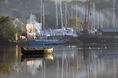 Helford River, Cornwall (midlander1231) Tags: autumn light england mist nature dawn boat cornwall harbour earlymorning estuary gweek helford helfordriver earlymorninglight