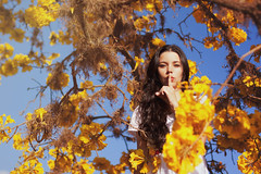 Tell No One (AnnuskA  - AnnA Theodora) Tags: flowers portrait woman selfportrait tree colors yellow dark hair spring long branches low curly brazilian silencing