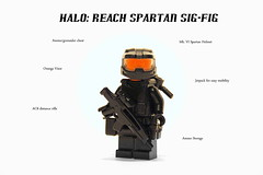 Halo: Reach Spartan Sig-Fig (♕ Spencer) Tags: orange cat lego fig halo reach minifig spencer sig visor spartan jetpack brickarms