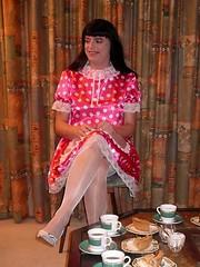 Relaxing maid (Paula Satijn) Tags: pink stockings girl ruffles tv pumps dress legs sweet silk skirt tgirl apron sissy satin maid gurl pinafore polkadot pinny frilly frenchmaid sissymaid schort malemaid meninaprons schortje sissymaidsapron