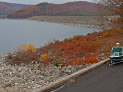 365-301, Windsor Dam at Quabbin, Late Autumn (pecooper98362) Tags: autumn massachusetts photoaday belchertown quabbinreservoir windsordam gloomyweather ahobblingaday darkercolors