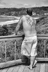 Copacabana Beach, Central Coast, NSW (Julie Byrnes) Tags: blackandwhite beach blackwhite noiretblanc candid streetphotography australia copa tats streetimages beachproject juliebyrnes
