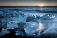 Blue Ice (Kristinn R.) Tags: sea ice beach blacksand iceland nikon jkulsrln d3x nikonphotography breiamerkursandur kristinnr