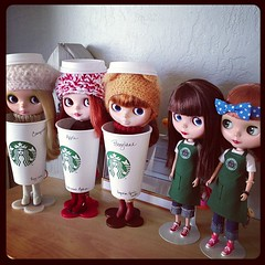 My girls in their last minute costumes! (Soy Latte, Pepermint Mocha, Pumpkin Spice Latte) (jenniferabe) Tags: apple square squirrel pudding starbucks squareformat hudson crumpet pennylane iphoneography instagramapp uploaded:by=instagram starblythecafe