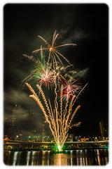 Bringing in 2013 at Southbank, Brisbane (Craig Jewell Photography) Tags: copyright iso100 fireworks nye australia newyear brisbane southbank celebration lasers queensland newyearseve f80 brisbaneriver 2012 2013 50sec ef1635mmf28liiusm craigjewellcanoneos1dmarkiv bnedec12
